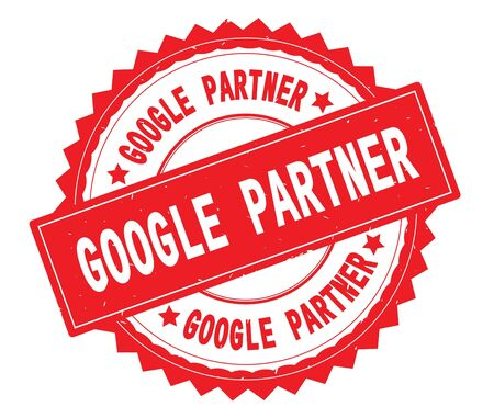 GOOGLE PARTNER red text round stamp, with zig zag border and vintage texture.