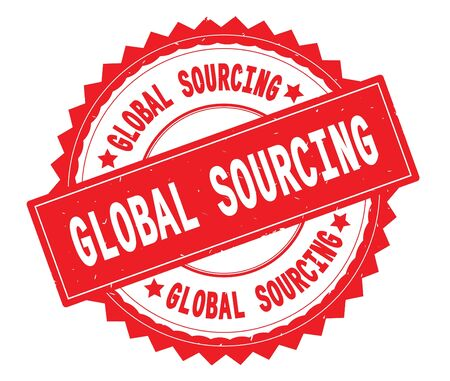GLOBAL SOURCING red text round stamp, with zig zag border and vintage texture. Stock Photo