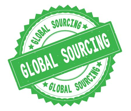 GLOBAL SOURCING green text round stamp, with zig zag border and vintage texture.