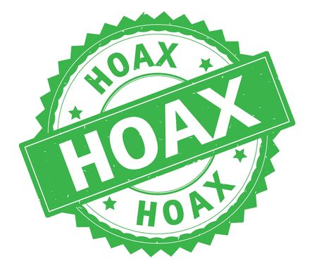 HOAX green text round stamp, with zig zag border and vintage texture.