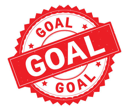 GOAL red text round stamp, with zig zag border and vintage texture. Stock Photo