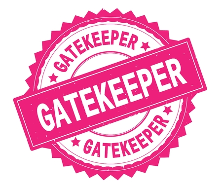 Runder Stempel des rosa Textes GATEKEEPER, mit Zick-Zack-Grenze und Vintager Beschaffenheit.