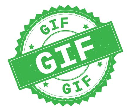 GIF green text round stamp, with zig zag border and vintage texture.