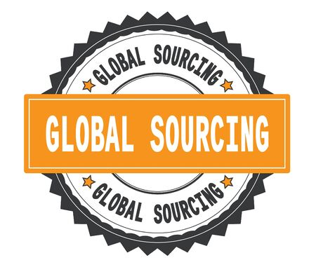 GLOBAL SOURCING text on grey and orange round stamp, with zig zag border and vintage texture. Stock Photo