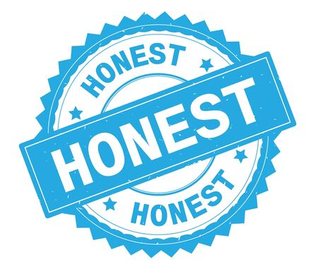 HONEST blue text round stamp, with zig zag border and vintage texture. Stock Photo