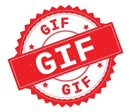 GIF red text round stamp, with zig zag border and vintage texture. Stock Photo