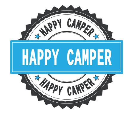 HAPPY CAMPER text on grey and cyan round stamp, with zig zag border and vintage texture. Stock Photo