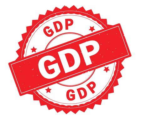 GDP red text round stamp, with zig zag border and vintage texture. Stock Photo