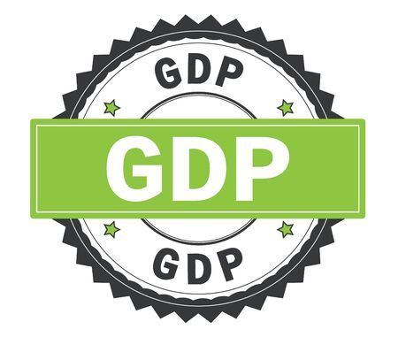 GDP text on grey and green round stamp, with zig zag border and vintage texture.