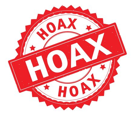 HOAX red text round stamp, with zig zag border and vintage texture.