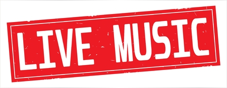 LIVE MUSIC text, on full red rectangle vintage textured stamp sign. Stockfoto