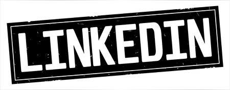 LINKEDIN text, on full black rectangle vintage textured stamp sign.