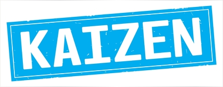 KAIZEN text, on full cyan rectangle vintage textured stamp sign. Stock Photo