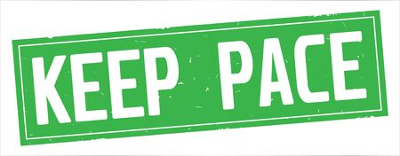 KEEP PACE text, on full green rectangle vintage textured stamp sign. 版權商用圖片