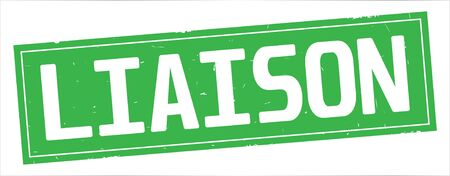 LIAISON text, on full green rectangle vintage textured stamp sign. Stock fotó