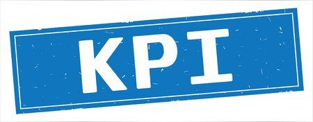 KPI text, on full blue rectangle vintage textured stamp sign.