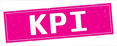 KPI text, on full pink rectangle vintage textured stamp sign. Stockfoto