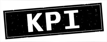 KPI text, on full black rectangle vintage textured stamp sign. Stock Photo