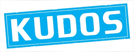 KUDOS text, on full cyan rectangle vintage textured stamp sign.