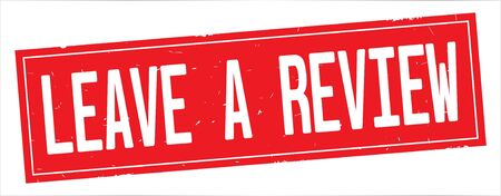 LEAVE A REVIEW text, on full red rectangle vintage textured stamp sign.