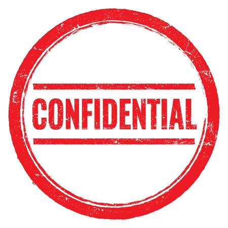 CONFIDENTIAL red grungy round stamp sign.