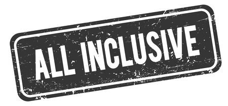 ALL INCLUSIVE black grungy rectangle stamp sign.