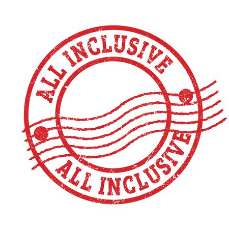 ALL INCLUSIVE red grungy round postal stamp.