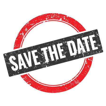 SAVE THE DATE black red grungy round stamp sign.