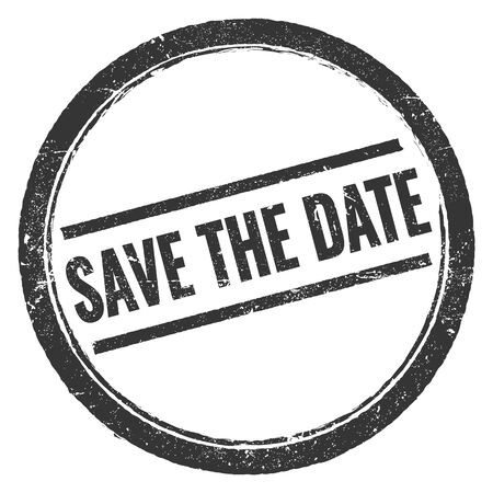 SAVE THE DATE black grungy round stamp sign. Banco de Imagens