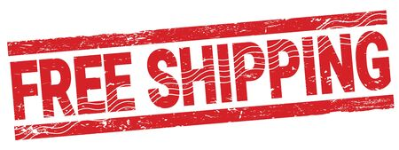 FREE SHIPPING red grungy stamp sign.