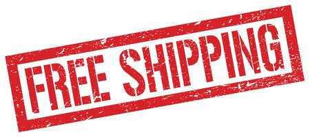 FREE SHIPPING red grungy rectangle stamp sign.