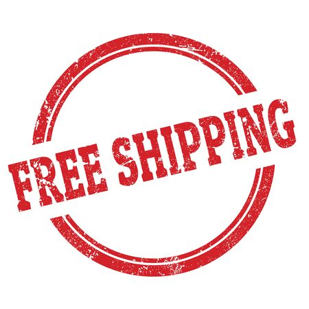 FREE SHIPPING red grungy round stamp sign.