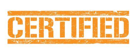 CERTIFIED orange rectangle stamp.