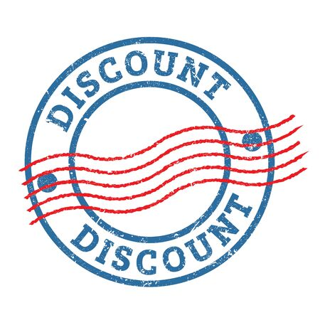 DISCOUNT blue red round grungy stamp. Stock Photo
