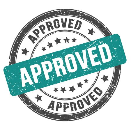 APPROVED black blue round grungy stamp Stock Photo