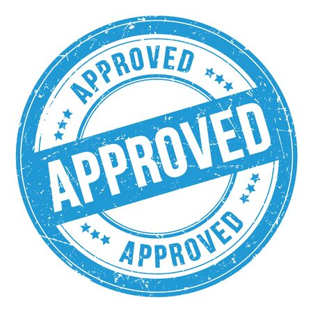 APPROVED blue grungy round rubber stamp.