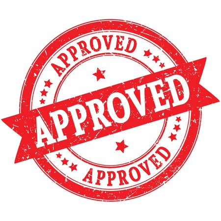 APPROVED red round grungy stamp Stock Photo