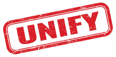 UNIFY red grungy rectangle stamp sign. Stock Photo