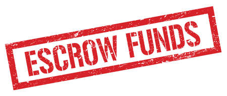 ESCROW FUNDS red grungy rectangle stamp sign. 写真素材