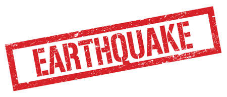 EARTHQUAKE red grungy rectangle stamp sign. 写真素材