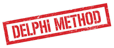 DELPHI METHOD red grungy rectangle stamp sign.