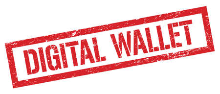 DIGITAL WALLET red grungy rectangle stamp sign.