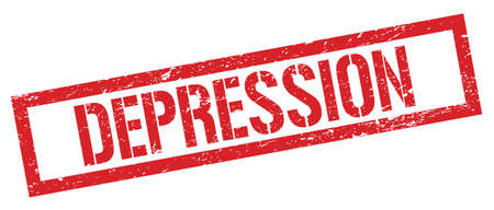 DEPRESSION red grungy rectangle stamp sign.
