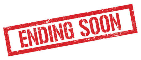 ENDING SOON red grungy rectangle stamp sign.