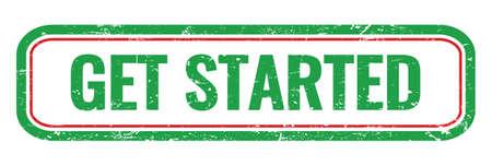 GET STARTED green grungy rectangle stamp sign. Standard-Bild