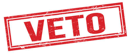 VETO red grungy rectangle stamp sign. Stock fotó