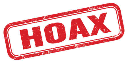 HOAX red grungy rectangle stamp sign.