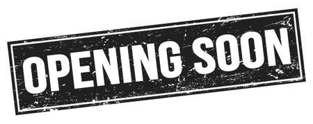 OPENING SOON text on black grungy rectangle stamp sign.