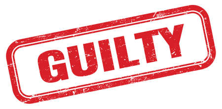 GUILTY red grungy rectangle stamp sign.