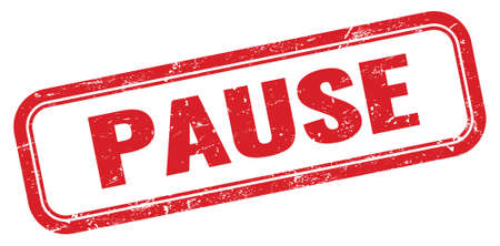 PAUSE red grungy rectangle stamp sign. Stock Photo